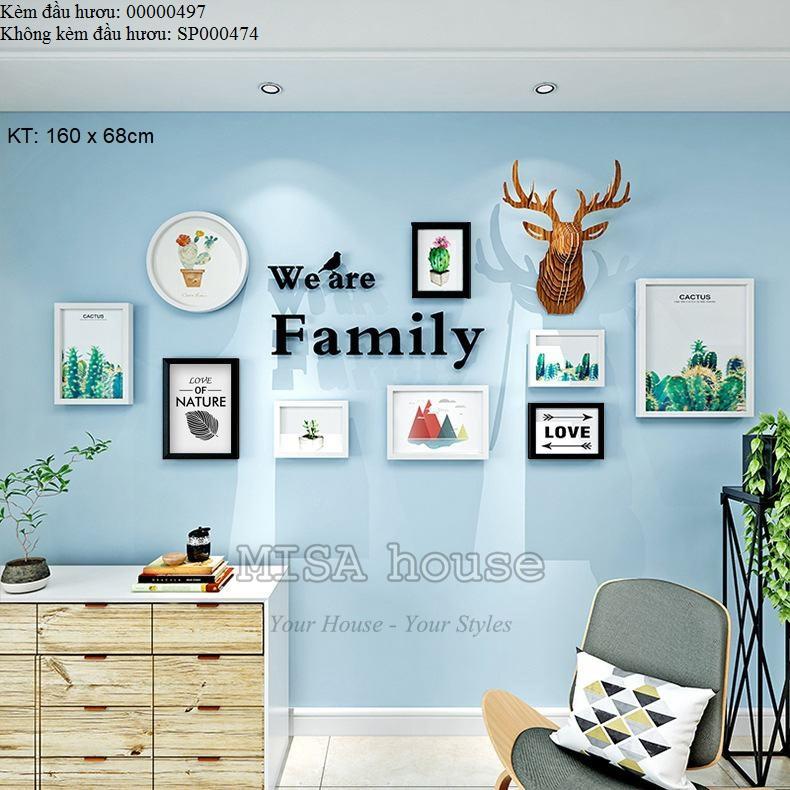 Bộ khung ảnh đẹp độc đáo với đầu hươu family trang trí nhà đẹp
