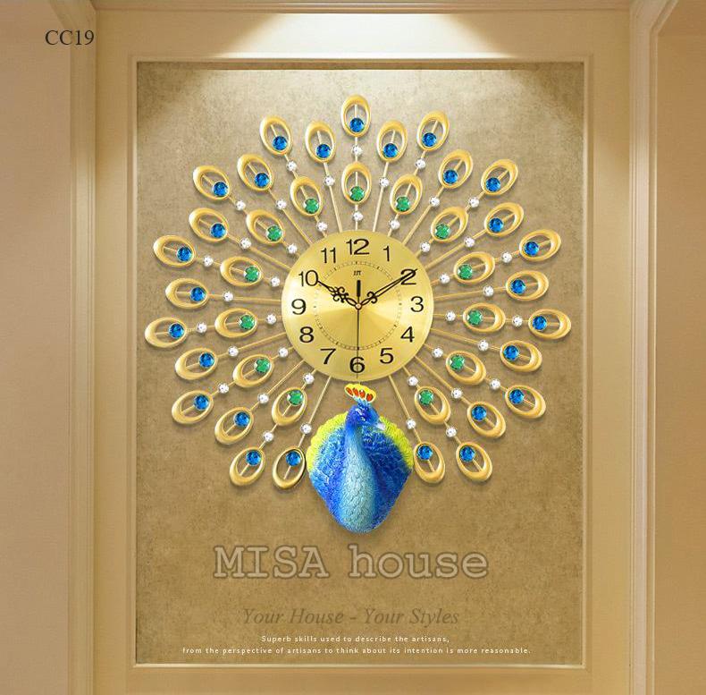 Đồng hồ hình công xanh trang trí nhà đẹp nghệ thuật