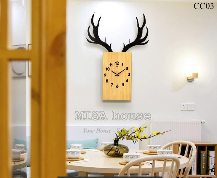 Trang trí nhà đẹp bằng đồng hồ đầu hươu gỗ nghệ thuật đơn giản, độc đáo mới lạ