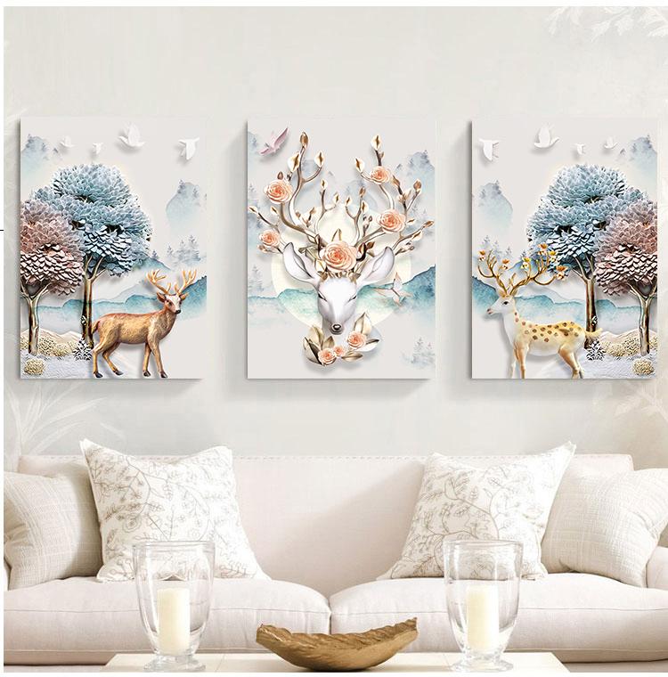 Tranh treo tường nghệ thuật hình hươu và thiên nhiên
