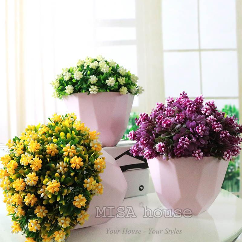 Tranh trí bàn làm việc phòng khách bằng chậu hoa đẹp