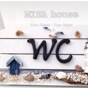 Bảng gỗ WC chủ đề biển - phong cách biển địa trung hải