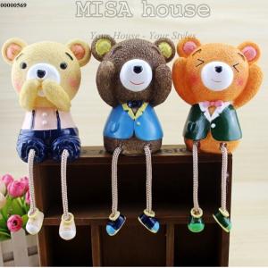 Bộ 3 gấu không nghe - không nói - không nhìn để bàn trang trí phòng khách, bàn làm việc, làm quà tặng