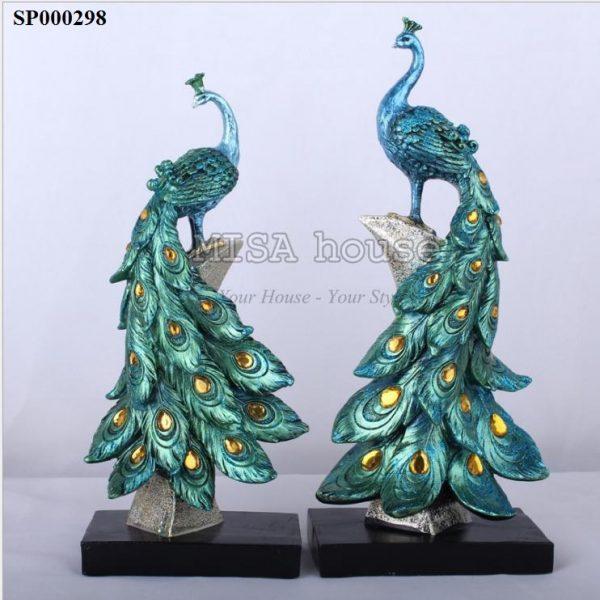 Cặp chim phượng hoàng xanh cao cấp đồ trang trí sang trọng, quà tặng tân gia ý nghĩa