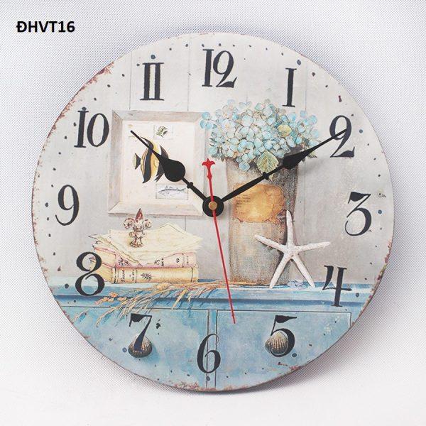 Đồng hồ tranh gỗ hoa cẩm tú cầu vintage treo tường, đẹp, độc lạ - đồng hồ vintage 16