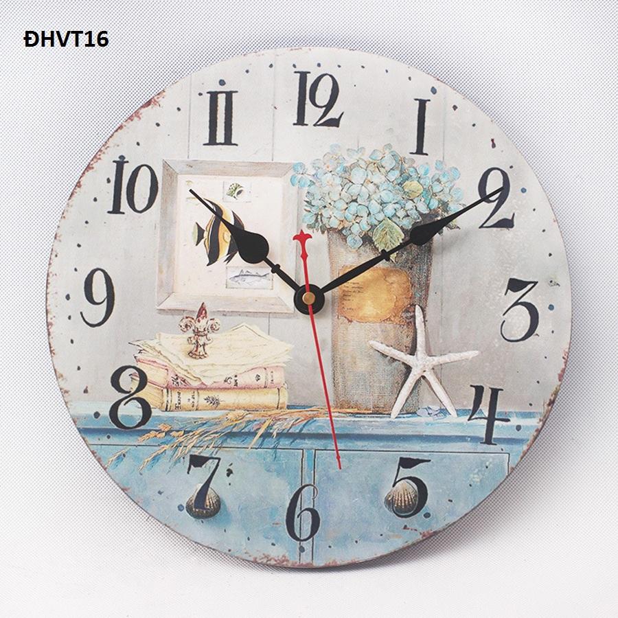 Đồng hồ tranh gỗ hoa cẩm tú cầu vintage treo tường, đẹp, độc lạ – đồng hồ vintage 16