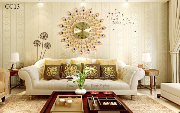 Đồng hồ treo tường mặt trời phòng khách cao cấp đẹp