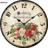 Đồng hồ vintage treo tường, độc lạ - đồng hồ gỗ vintage hoa hồng ĐHVT13
