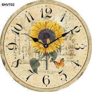 Đồng hồ vintage treo tường hoa hướng dương, độc lạ – đồng hồ gỗ vintage hoa mặt trời