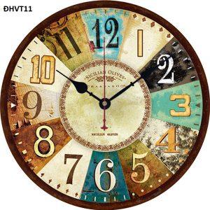 Đồng hồ vintage treo tường, độc lạ – đồng hồ gỗ nhiều màu vintage 11