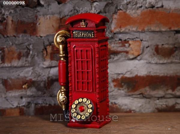 Post điện thoại màu đỏ – đồ trang trí vintage