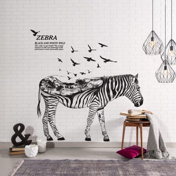Decal dán tường đẹp giá rẻ trang trí phòng bếp nhà hàng phòng khách phòng ngủ quán cafe hình ngựa vằn độc lạ 1