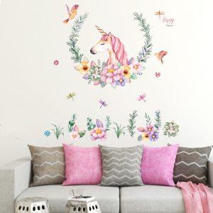 Decal dán tường đẹp giá rẻ trang trí phòng khách phòng ngủ hình ngựa một sừng - kỳ lân 5, tranh dán tường đẹp trang trí nhà