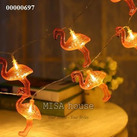 Dây đèn hồng hạc xinh treo tường trang trí  – đồ trang trí tường , trang trí phòng khách.