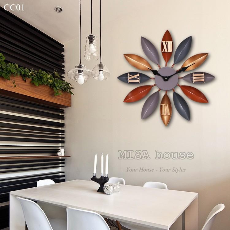 Đồng hồ treo tường nghệ thuật đẹp độc đáo phong cách Bắc Âu hoa xám - trang trí phòng khách, quán cafe