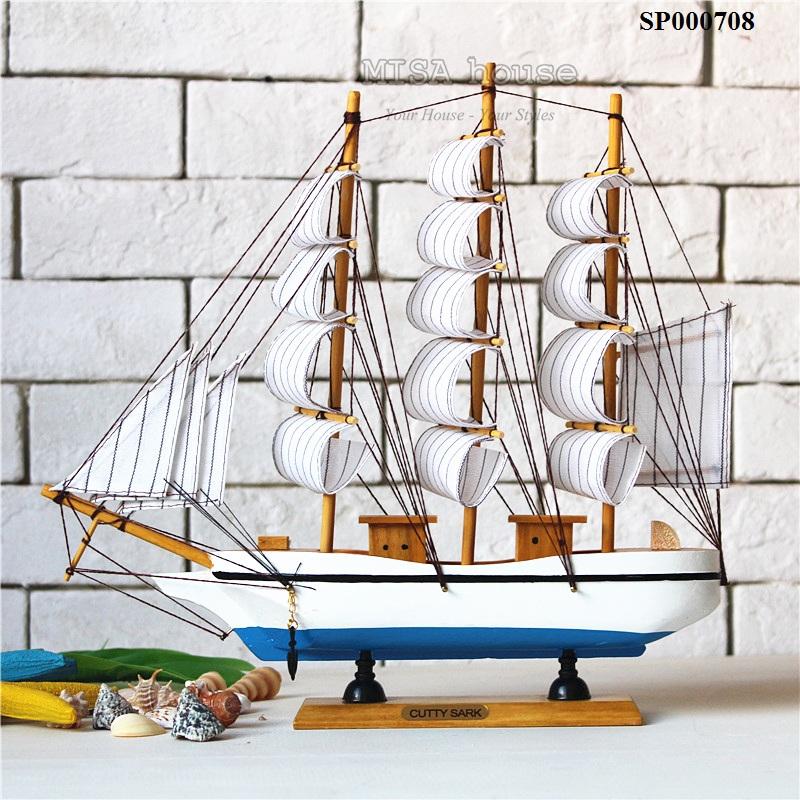 Thuyền trắng xanh dương dài 32 cm – đồ trang trí nhà đẹp chủ đề biển