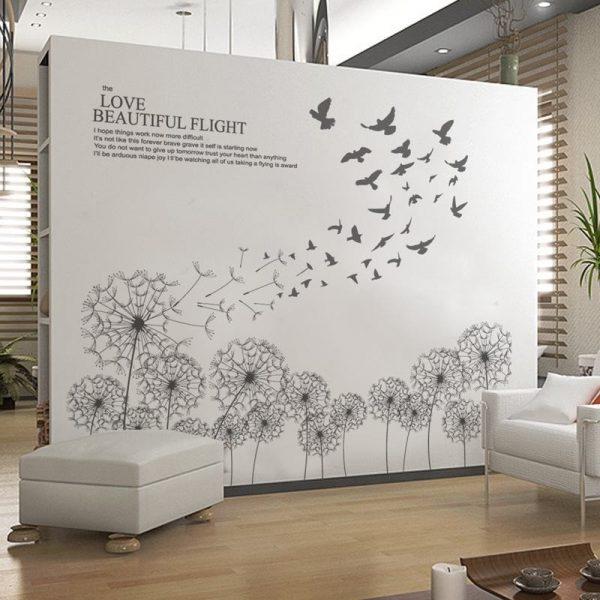 Tranh decal dán tường 3d hình hoa bồ công anh mẫu 2