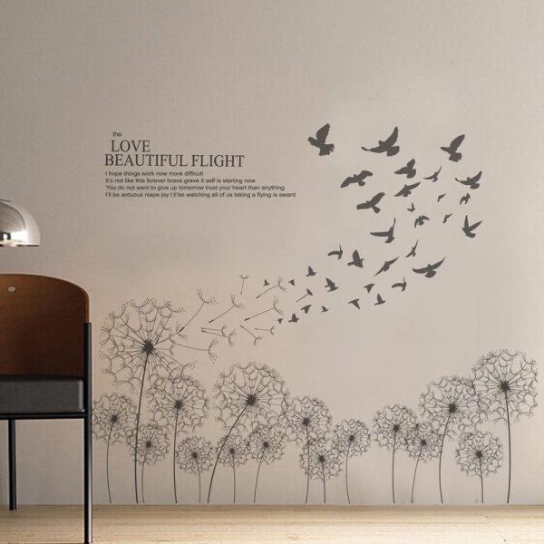 Tranh decal dán tường 3d hình hoa bồ công anh mẫu 5