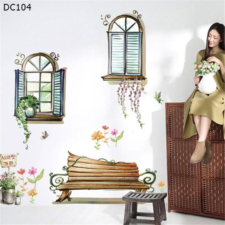 Tranh decal dán tường hình cánh cửa sổ hoạt hình