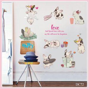 Tranh decal dán tường hình chó cún nhỏ Love xinh