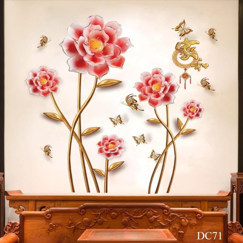Tranh decal dán tường hình hoa hồng 3D