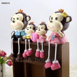 Bộ gia đình khỉ - đồ trang trí tủ kệ phòng khách