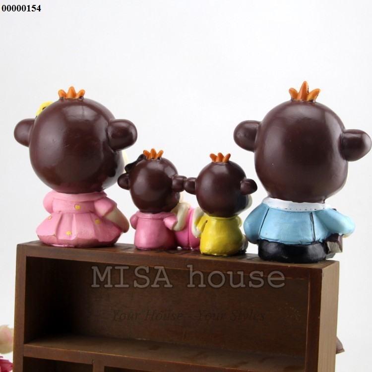 Bộ gia đình khỉ – đồ trang trí tủ kệ phòng khách