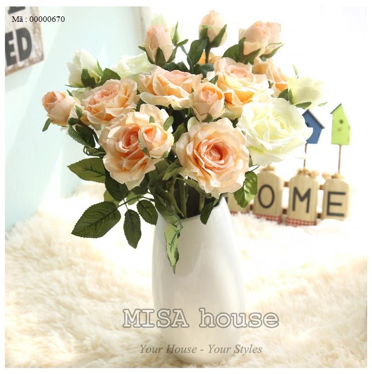 Cành hoa hồng màu hồng hoa vải cành cao - hoa giả đẹp trưng tết trang trí nhà đẹp màu cam