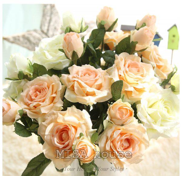 Cành hoa hồng màu hồng hoa vải cành cao – hoa giả đẹp trưng tết trang trí nhà đẹp màu hồng cam