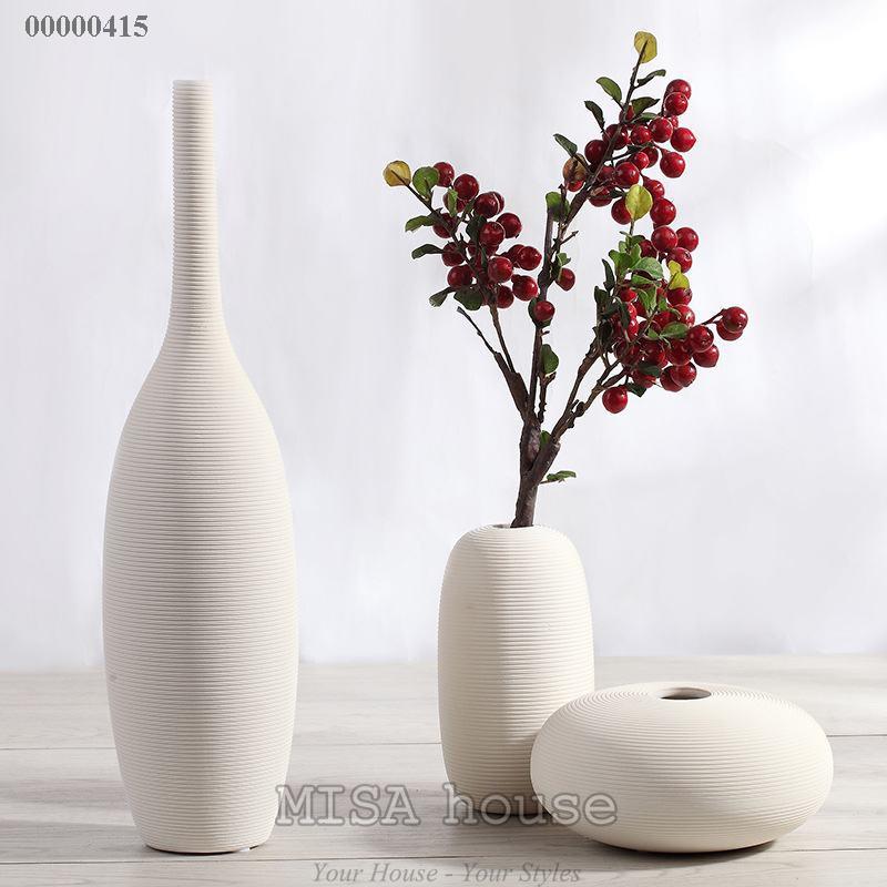Bộ bình hoa cổ cao hiện đại trắng gân nổi – bộ gốm sứ trang trí nhà đẹp hiện đại phong cách
