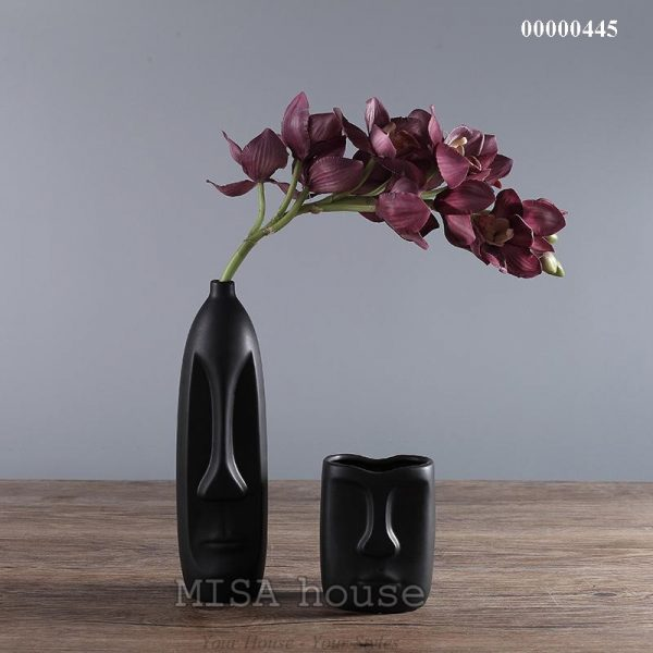 Bộ gốm sứ mặt người đẹp độc lạ màu đen- đồ trang trí nhà gốm sứ hiện đại đẹp độc lạ phong cách mới
