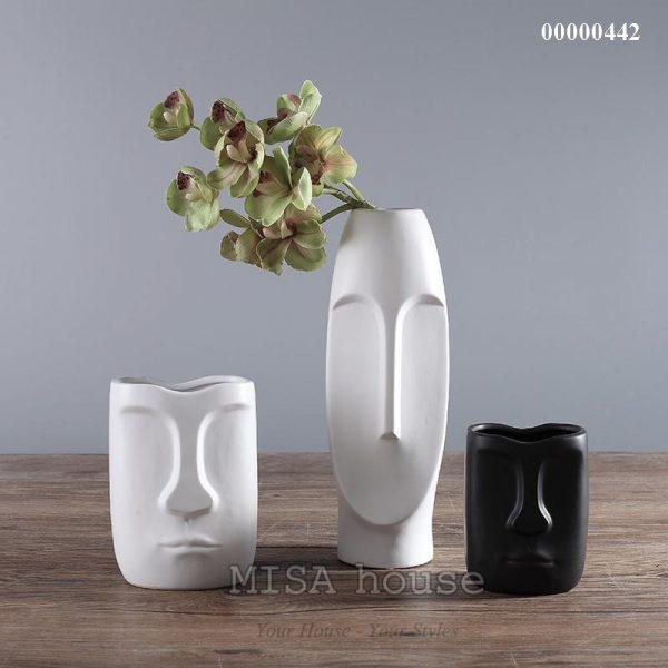 Bộ gốm sứ mặt người đẹp độc lạ 3 bình màu đen trắng – gốm sứ trang trí nhà hiện đại – đẹp độc lạ – phong cách Bắc Âu