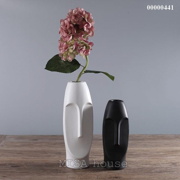 Bộ gốm sứ mặt người đẹp độc lạ 2 bình màu đen trắng – gốm sứ trang trí nhà hiện đại – đẹp độc lạ