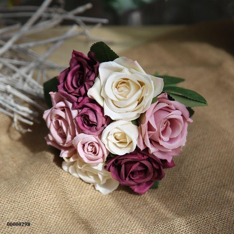 Bó hoa hồng tím lụa hoa hồng giả siêu đẹp trang trí nhà đẹp