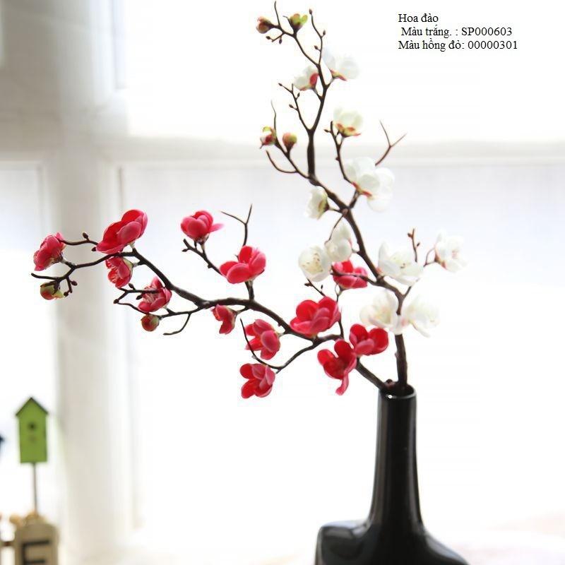 Cành hoa đào màu trắng trang trí tết - hoa giả đẹp trang trí nhà đẹp