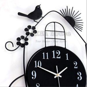 Đồng hồ treo tường quả lắc hình chim sẻ- đồng hồ treo tường nghệ thuật
