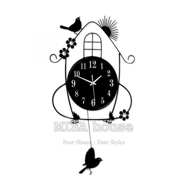 Đồng hồ treo tường quả lắc hình chim sẻ- đồng hồ treo tường đẹp nghệ thuật
