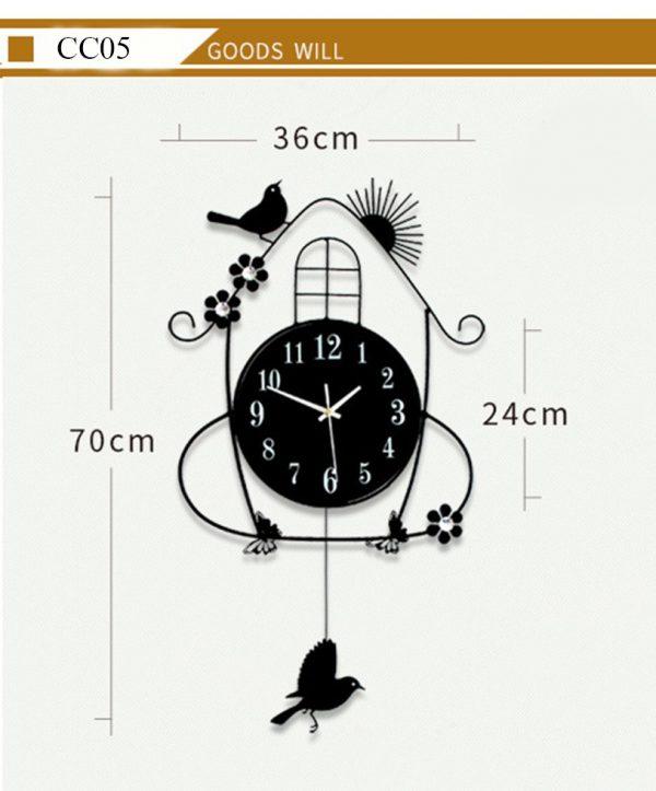Đồng hồ treo tường nghệ thuật quả lắc hình chim sẻ- đồng hồ treo tường nghệ thuật độc đáo