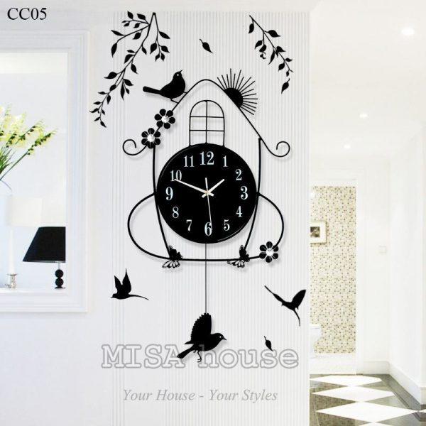 Đồng hồ treo tường nghệ thuật quả lắc hình chim sẻ- đồng hồ treo tường nghệ thuật đẹp độc đáo tphcm