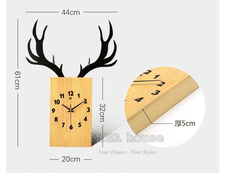 Đồng hồ treo tường nghệ thuật hình hươu trang trí quà tặng tân gia đẹp và ý nghĩa