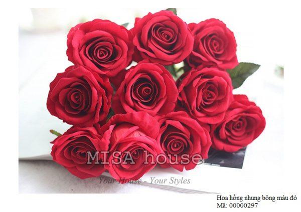 Cành hoa hồng nhung – hoa cao cấp màu đỏ đô rực rỡ