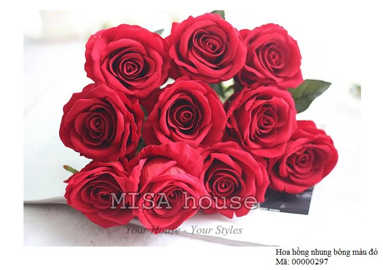 Cành hoa hồng nhung – hoa cao cấp màu hồng phấn nhẹ nhàng