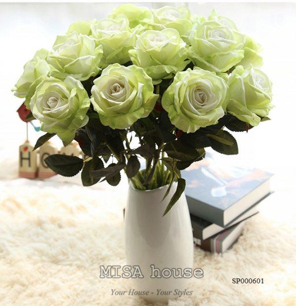 Cành hoa hồng nhung – hoa cao cấp màu xanh đẹp và lạ mắt