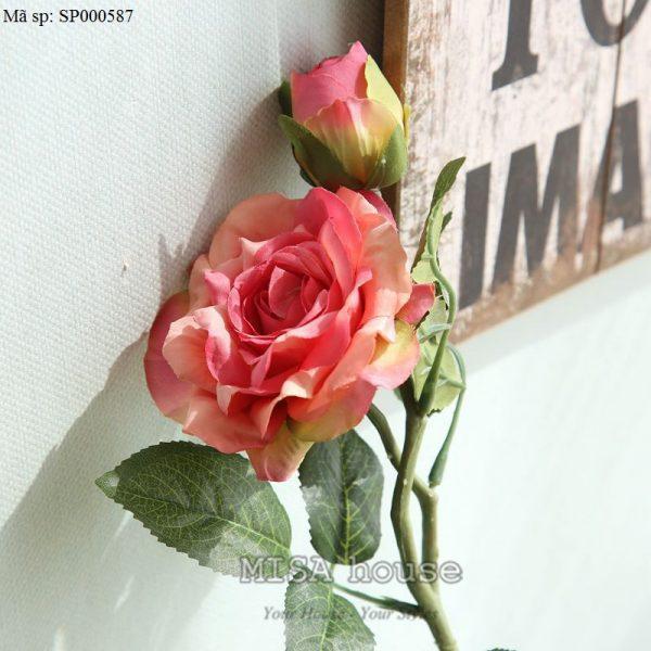 Cành hoa hồng màu hồng hoa vải cành cao – hoa giả đẹp trưng tết trang trí nhà đẹp màu hồng đậm