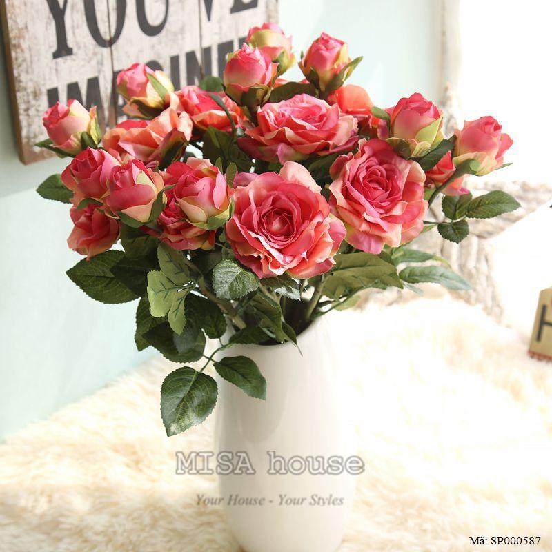 Cành hoa hồng màu hồng hoa vải cành cao – hoa giả đẹp trưng tết trang trí nhà đẹp màu cam