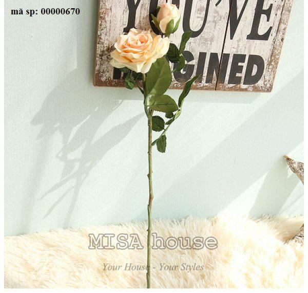 Cành hoa hồng màu hồng hoa vải cành cao – hoa giả đẹp trưng tết trang trí nhà đẹp màu hồng cam siêu đẹp