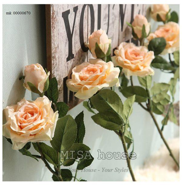 Cành hoa hồng màu hồng hoa vải cành cao – hoa giả đẹp trưng tết trang trí nhà đẹp màu hồng cam siêu đẹp 02