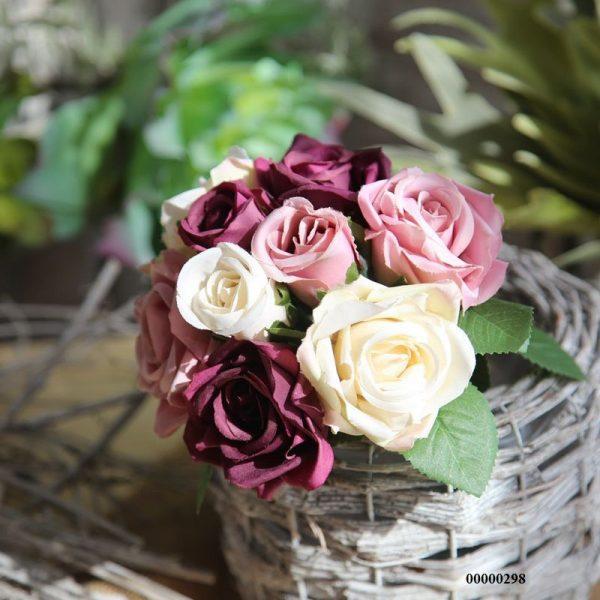 Bó hoa hồng tím lụa hoa hồng giả siêu đẹp trang trí nhà đẹp ngày tết