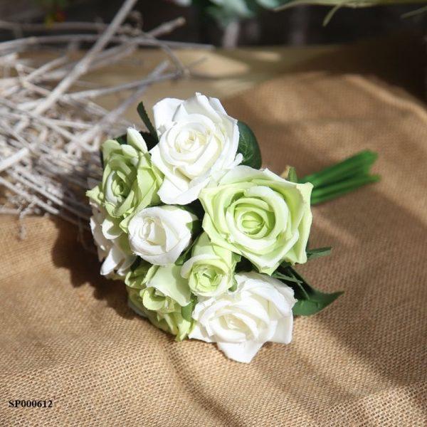 Bó hoa hồng giả màu xanh đẹp độc đáo trang trí nhà đẹp