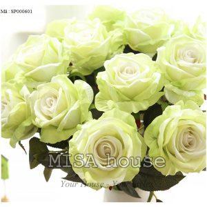 Cành hoa hồng nhung - hoa cao cấp màu xanh đẹp và lạ mắt , bông lớn